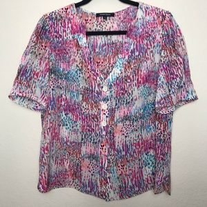 Nanette Lepore 100% silk button down color blouse